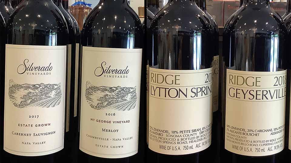 Silverado and Ridge Californian wines
